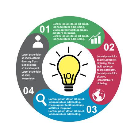 4-Stufen-Vektorelement in vier Farben mit Beschriftungen, Infografikdiagramm. Geschäftskonzept von 4 Schritten oder Optionen mit Glühbirne. Vektorgrafik