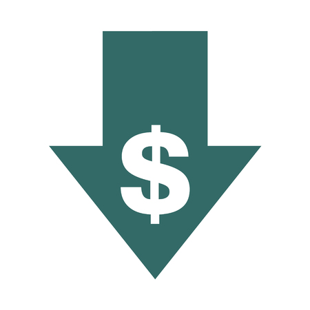 Cost reduction- decrease icon. Vector symbol image isolated on background . Stockfoto - 115105498