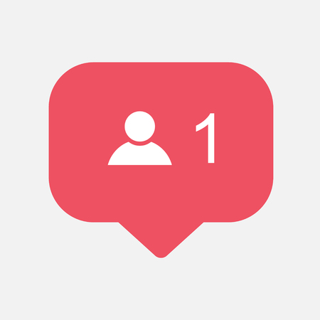 Counter,friend request quantity follower notification symbol. Buton for social media .