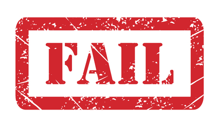 Vector illustration isolated of the word Fail in red ink stamp .