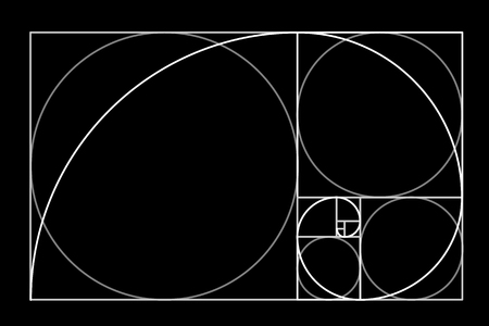 Minimalistic style design. Golden ratio. Geometric shapes. Circles in golden proportion. Futuristic design. Logo. Vector icon . Archivio Fotografico - 115707929