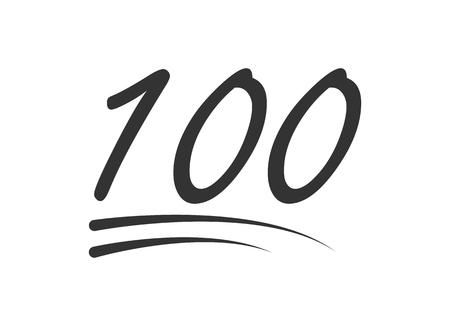 Icona di vettore di 100 - cento numeri. Simbolo isolato su sfondo bianco. Vettoriali