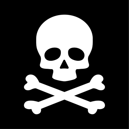 Icono de tibias cruzadas de cráneo plano moderno aislado sobre fondo negro.