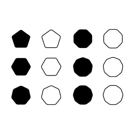 Vector set icon pentagon, hexagon, octagon, decagon, dodecagon etc symbol .