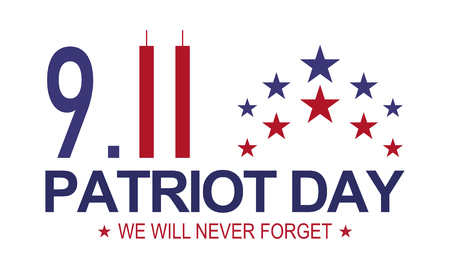 Patriot day 9.11 . Memorial day, We will never forget. White background . Vettoriali