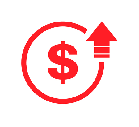 Cost symbol dollar increase icon. Vector symbol image isolated on background