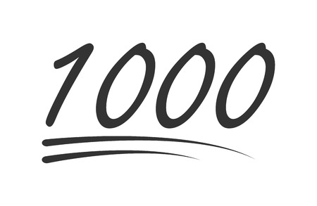 1000 - hundred number vector icon. Symbol isolated on white background .