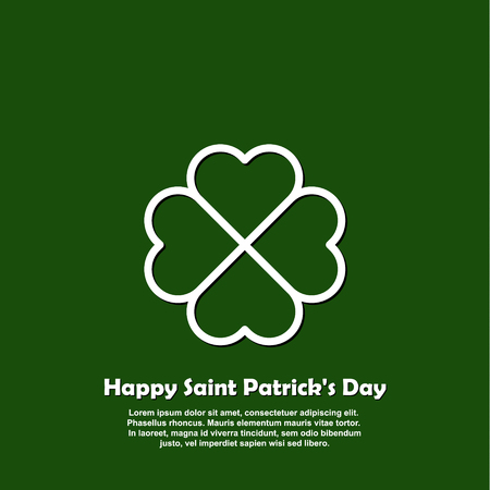 Happy Saint Patricks day card with outline Shamrock Icon. Line four leaf clover pictogram. Minimal abstract background . Illustration