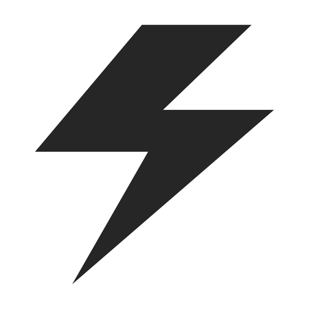 Flash electrical app symbol, icon vector. Black button isolated background .