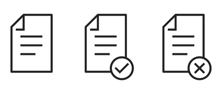 Icon of approved canceled free document. Checklist, file, document. Paperwork concept vector .