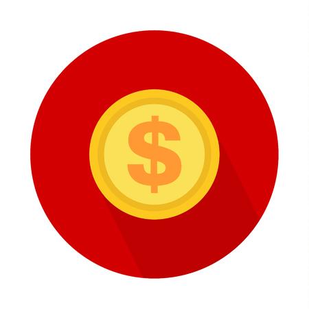 Dollar coin icon, symbol on color background. Vector isolated design . Ilustração