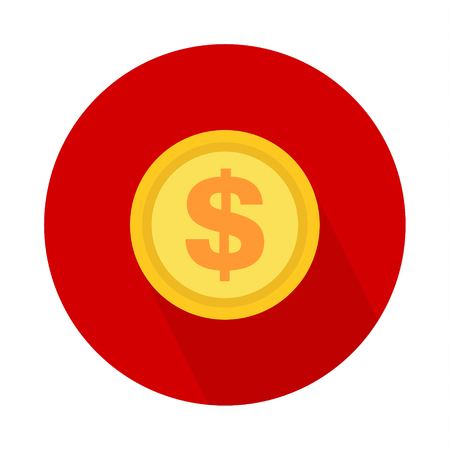 Dollar coin icon, symbol on color background. Vector isolated design . Illustration