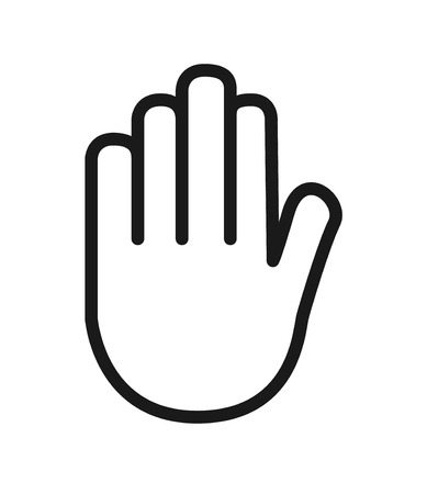 Outline icon  human senses: touch (hand). Vector symbol isolated on background . Illustration