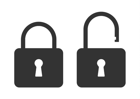 Icons flat closed lock and open lock. Symbols vector security. Isolated symbol on white background .