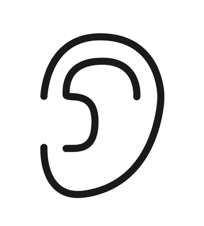 Outline icon  human senses: hearing (ear). Vector symbol isolated on background Ilustrace