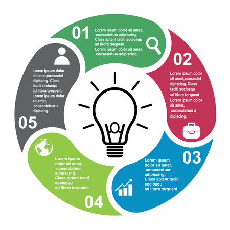 5 steps vector element in five colors with labels, infographic diagram. Business concept of 5 steps or options with bulb . 일러스트