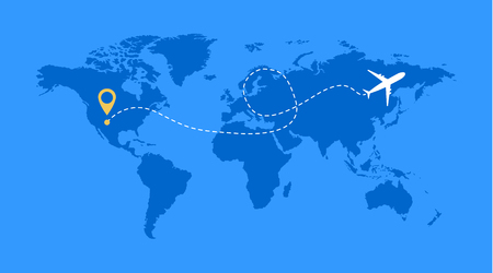 Airplane line vector icon of air plane flight route with start point and line trace . 向量圖像