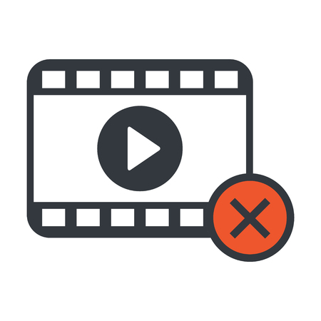 Play video modern icon strip vector isolated on white background .