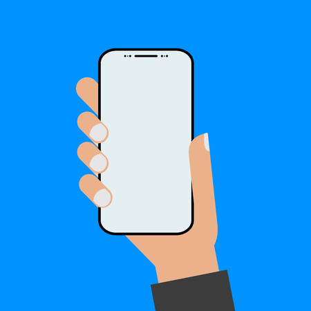 Modern design style hand holding the smartphone with empty screen .