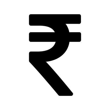 Indian rupee icon symbol isolated on white background. Vector money illustration .
