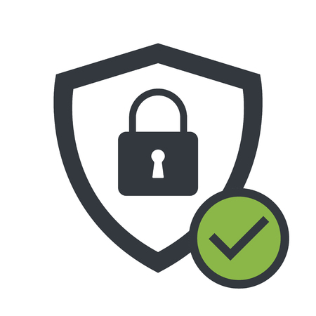 Lock and shield icon, vector illustration, security symbol. Guard safe protection .