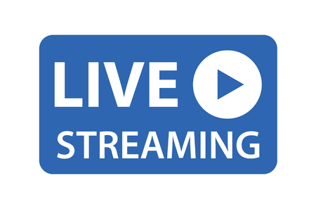Live streaming icon vector symbol, isolated on white background. Button video player .
