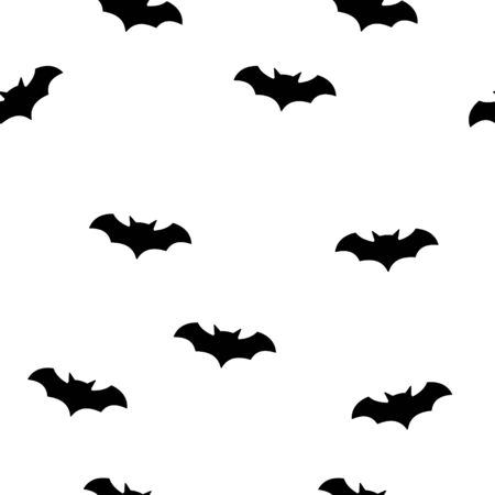 Bat halloween seamless patter with white background. Bat silhouette .