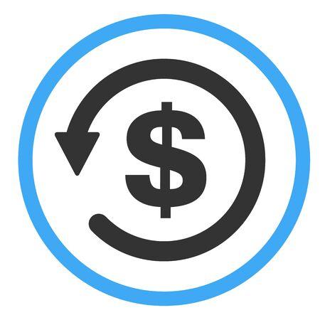 Rückbuchungssymbol Symbol, Geld zurück auf weißem Hintergrund. Vektorgrafik
