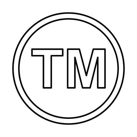 Símbolo de icono de marca comercial. TM firmar la ley negra del vector de la marca registrada.