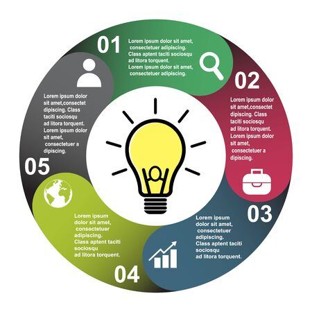 5 steps vector element in five colors with labels, infographic diagram. Business concept of 5 steps or options with light bulb .
