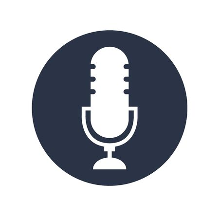 Podcast radio icon vecor on white background. Studio table microphone .