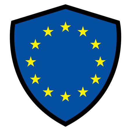 European official union flag , EU flag , with  shield color isolated on background . Stock Illustratie