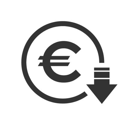 Cost reduction- decrease euro icon. Vector symbol image isolated on background .  イラスト・ベクター素材
