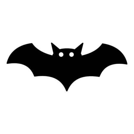 Bat icon, silhouette vector symbol isolated on white background .