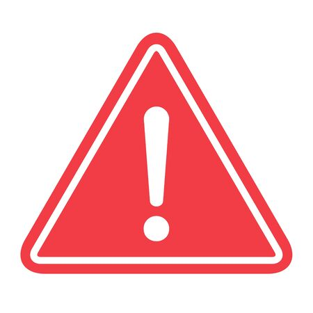 Simbolo di avvertimento di pericolo icona vettore segno piatto simbolo con punto esclamativo isolato su priorità bassa bianca.