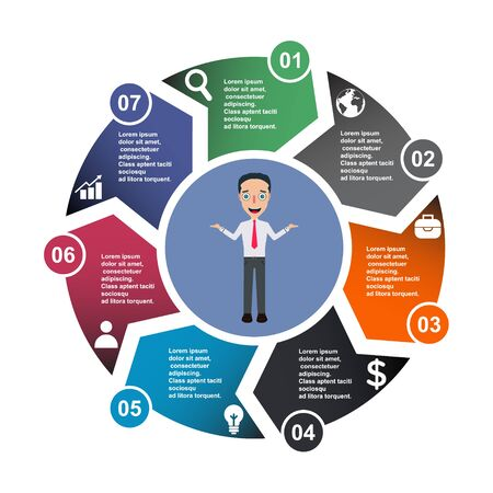 7 step vector element in seven colors with labels, infographic diagram. Business concept of 7 steps or options with businessman .