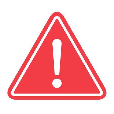 Hazard warning symbol vector icon flat sign symbol with exclamation mark isolated on white background . Ilustrace