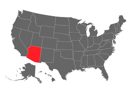 Arizona vector map silhouette. High detailed illustration. United state of America country . Ilustração