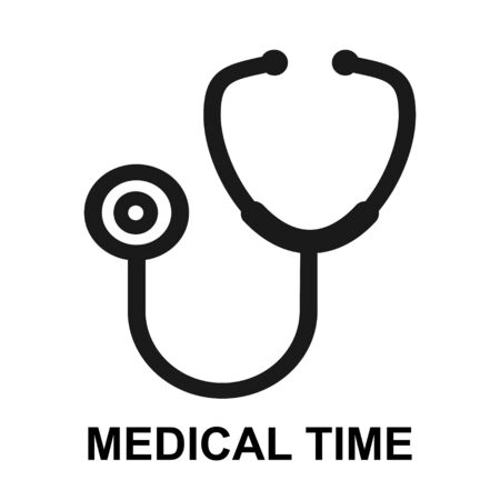 Stethoscope flat diagnostic icon vector. Doctor item, hospital pictogram isolated on background .