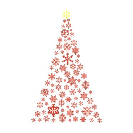 Xmas tree  with small flake isolated on white background . Abstract modern patter .