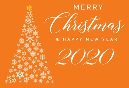 Merry Christmas and Happy New Year 2020 lettering template. Greeting card or invitation. Winter holidays related typograph  .