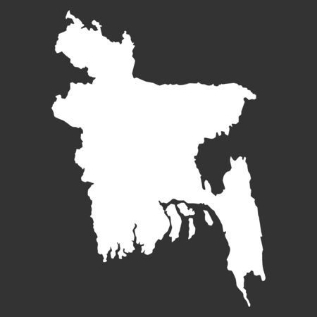 Black Map Of Bangladesh Isolated On Black Background, Vector Illustration world geography .