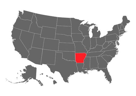 Arkansas vector map silhouette. High detailed illustration. United state of America country .