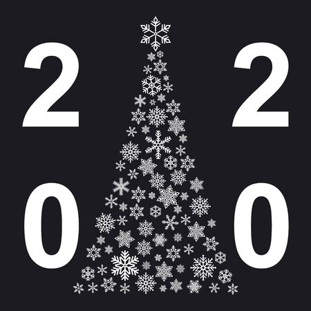 Xmas tree  with small flake isolated on white background . Abstract modern patter 2020 .