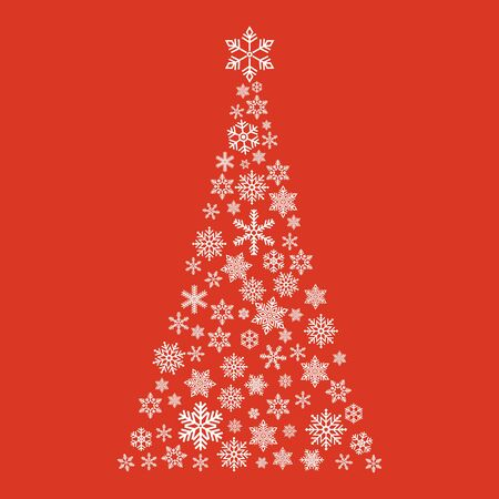 Xmas tree  with small flake isolated on color background . Abstract modern patter . Ilustração