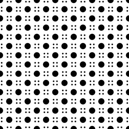 Modern four dot and big dot seamless pattern isolated on white background  . Ilustração