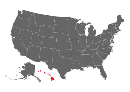 Hawaii vector map silhouette. High detailed illustration. United state of America country .