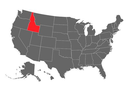 Idaho vector map silhouette. High detailed illustration. United state of America country .
