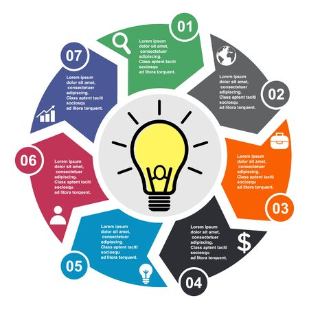 7 step vector element in seven colors with labels, infographic diagram. Business concept of 7 steps or options with light bulb