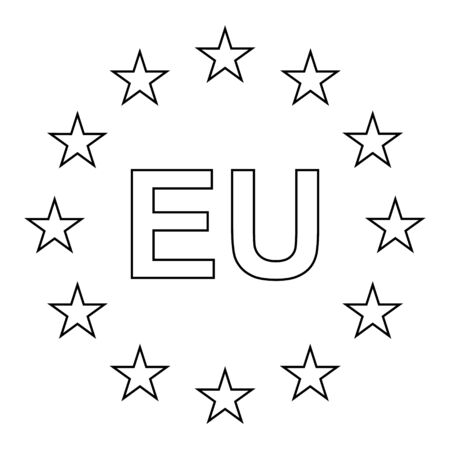 European official union flag , EU flag , with black and white color isolated on background . Stock Illustratie